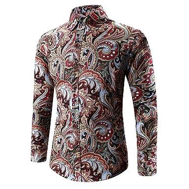 ebf0754162b1 Männer Nner Hawaiihemd 3D Modernas Vintage T Print Lässig Shirt Langarm  Tees Bluse Top Herbst Fashion Casual Shirt Hemden Oberteile  Amazon.de   Bekleidung