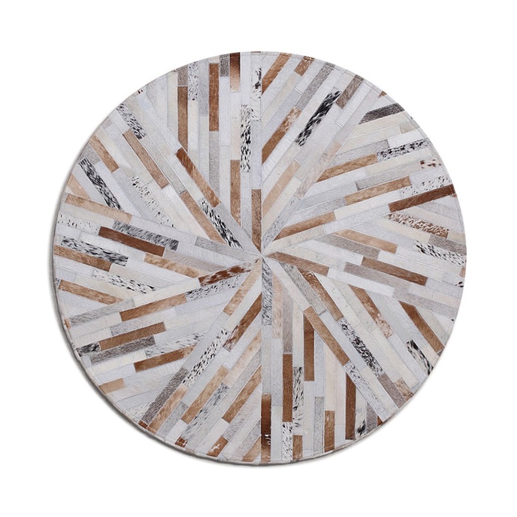QDY-Area Rugs Nordic Stripes Round Cowhide Rugs Living Room Sofa Tea Table Mats Baby Crawling Mat Living Room/Bedroom/ Study Room/Restaurant Pad (Size : Diameter 120cm)