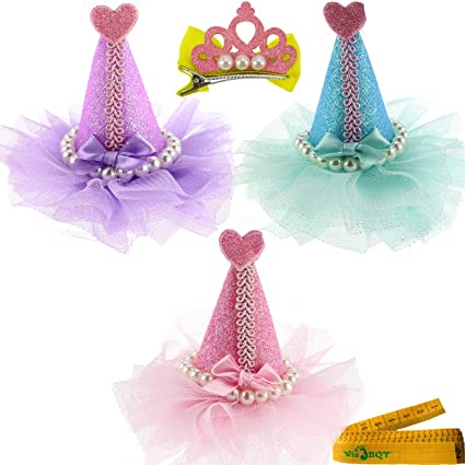 Wiz BBQT 3 Pcs Adorable Cute Cat Dog Pet Birthday Party Hat Shaped Hair Clips And