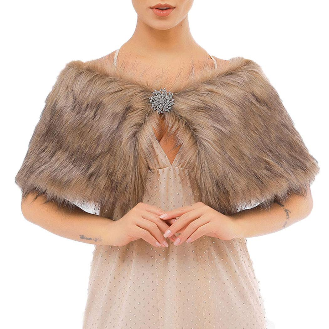 Victray Women's Sleeveless Faux Fur Shawl Wedding Bridal Fur Wraps Fur Stole Winter Cover Up for Bride and Bridesmaid (Brown)