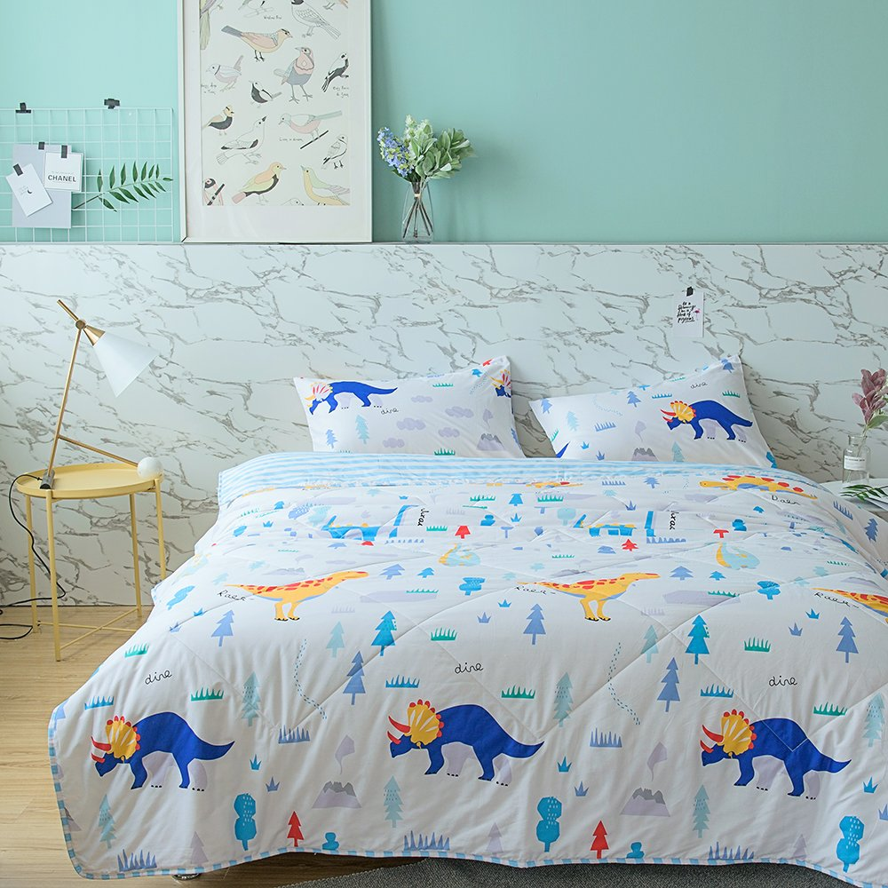 BuLuTu Lightweight Thin Summer Comforter Queen Cotton White/Blue,Dinosaur Animal Forest/Stripe Cool Travel Home Full Kids Boys Bed Blanket For Bed/Couch/Sofa,Breathable,Soft,200x230cm