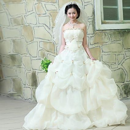 JJK Moderno Vestido de Novia de Novia Pintado Pecho Princesa Párrafo Dulce Coreano Super Hermosa Cola