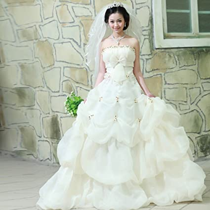 Moderno Vestido de Novia de Novia Pintado Pecho Princesa Párrafo Dulce Coreano Super Hermosa Cola de