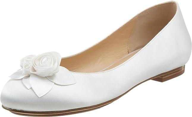 Ceci Air Rose Ballet Flat, White Satin