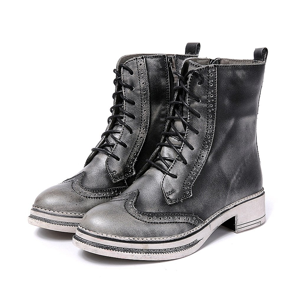 Women 's Martin boots autumn and winter retro genuine leather knights boots personality handmade shoes ( Color : Gray , Size : US:5UK:4EUR:35 ) by LI SHI XIANG SHOP (Image #2)