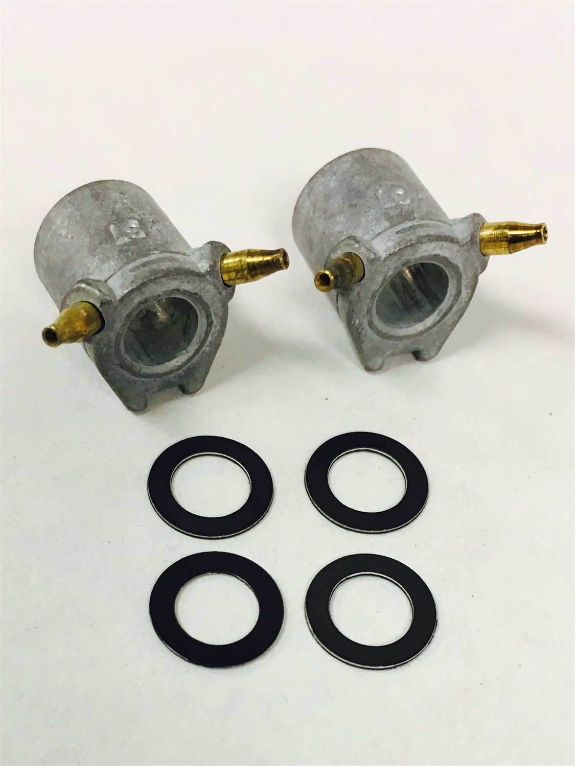 Holley Performance 121-37 Accelerator Pump Discharge Nozzle; 0.037 in. Hole Size; Tube Type; Incl. 2 Nozzles/4 Gaskets;