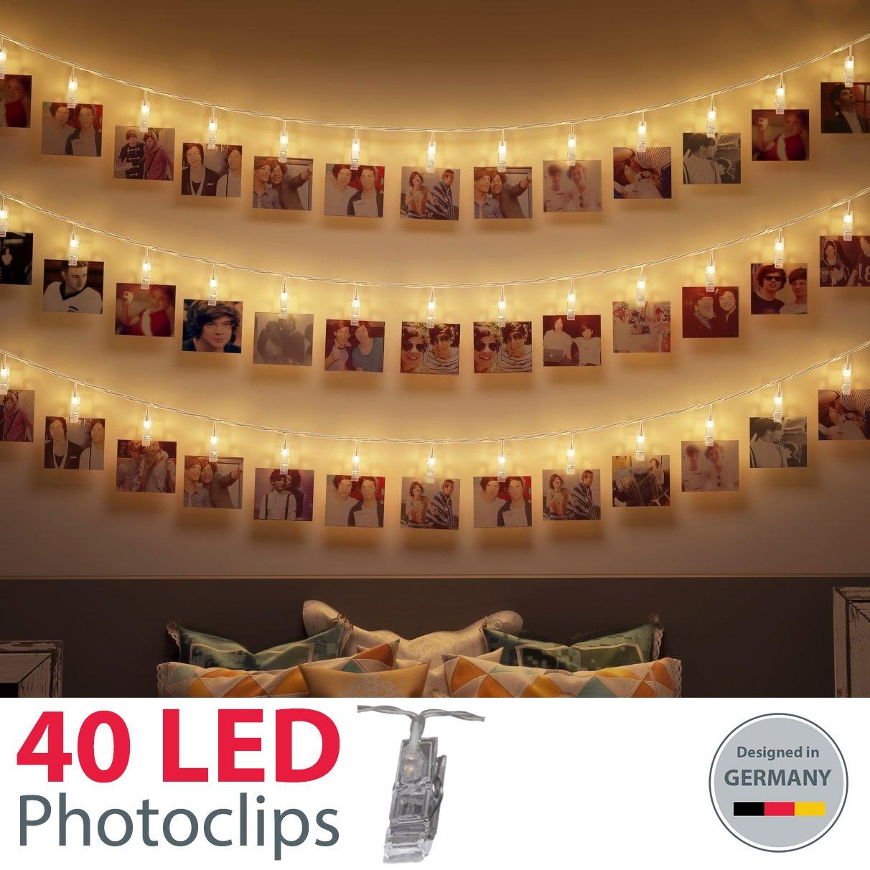 B.K.Licht LED Fotolichterkette Photoclips Clip Bilder Lichterkette 40 LEDs BKL1092