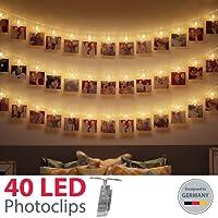 B.K.Licht LED Fotolichterkette Photoclips Clip Bilder Lichterkette 40 LEDs