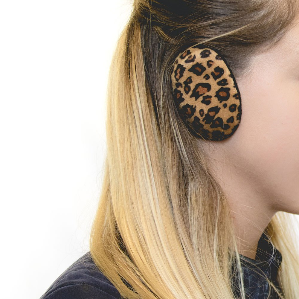 Sprigs Earbags Bandless Ear Warmers/Fleece Earmuffs with Thinsulate - Leopard Print, Large
