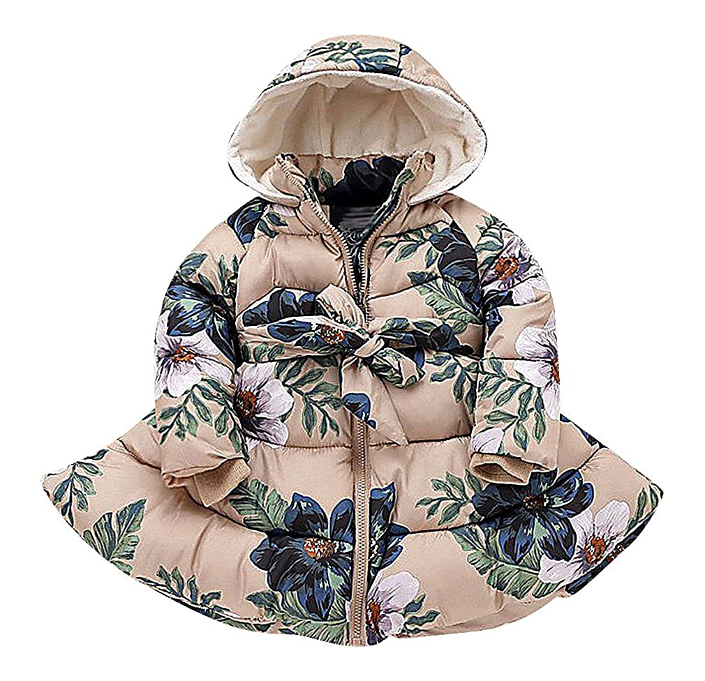 Sweety Girls Floral Print Quilted Belted Zip Up Dress Like Long Hooded Parka