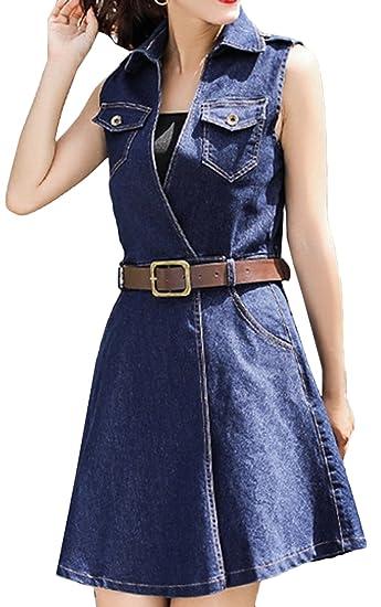 8d72e2cba6 Bevalsa Femmes Denim Robe Casual Jean Poche Blouse Courte Manches Denim Slim  Jupe Party Mini Robe