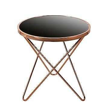 Stylischer Design Beistelltisch ORBIT 55cm Kupfer Schwarz Tisch Wohnzimmertisch Glastisch