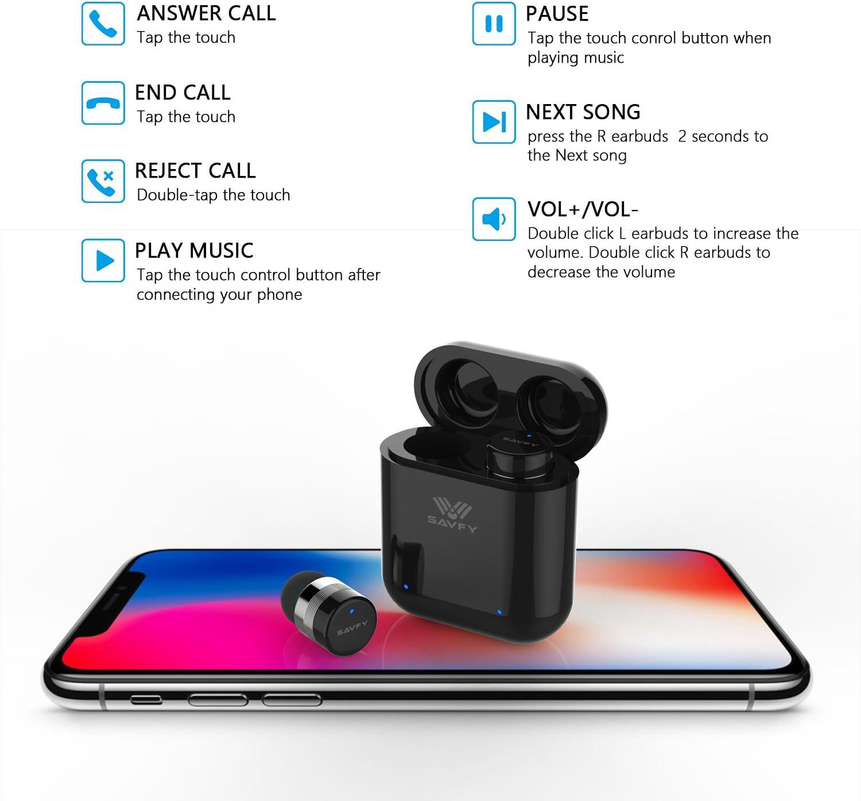 Mini Auriculares Bluetooth Inalámbricos, SAVFY Auriculares Invisible Antiruido Bluetooth 5,0 Con IPX5 Impermeable, Manos Libres Bluetooth de