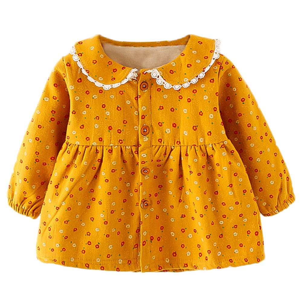 Vestido Bebé, LANSKIRT Recién Nacidos Bebés Niña Imprimir Floral Espesar Princesa Cálido Vestido Trajes Conjunto de Ropa