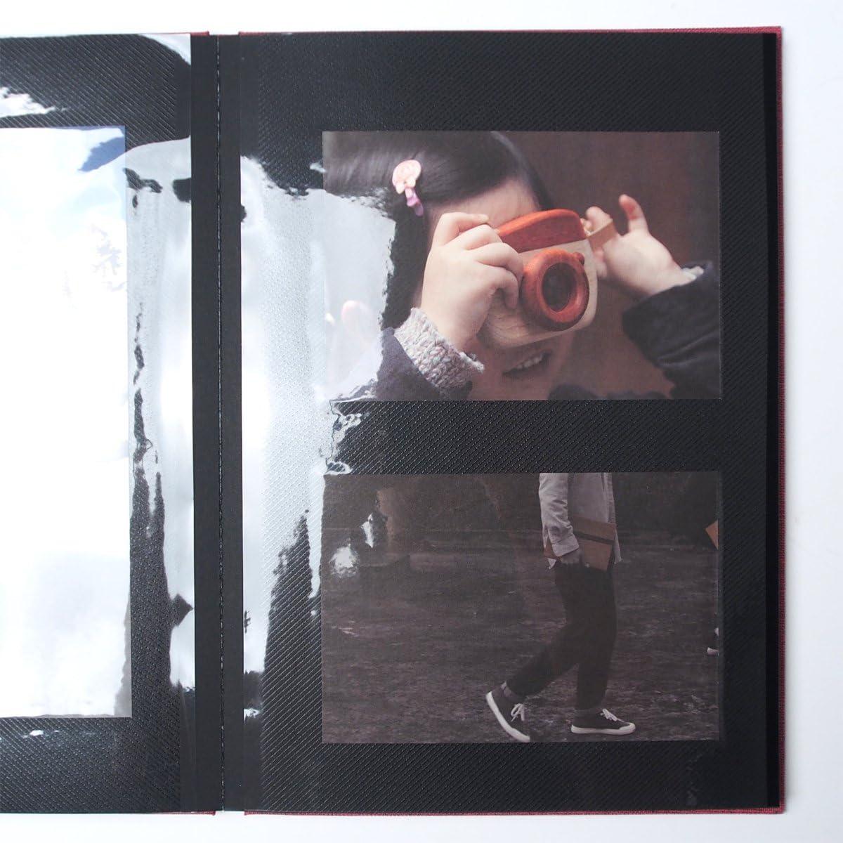 red AHZOA Photo Agenda Self-Adhesive Album 40 Black Inner Pages