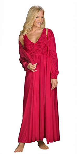 Shadowline Silhouette Gown and Peignoir Set (51737), Red at Amazon ...