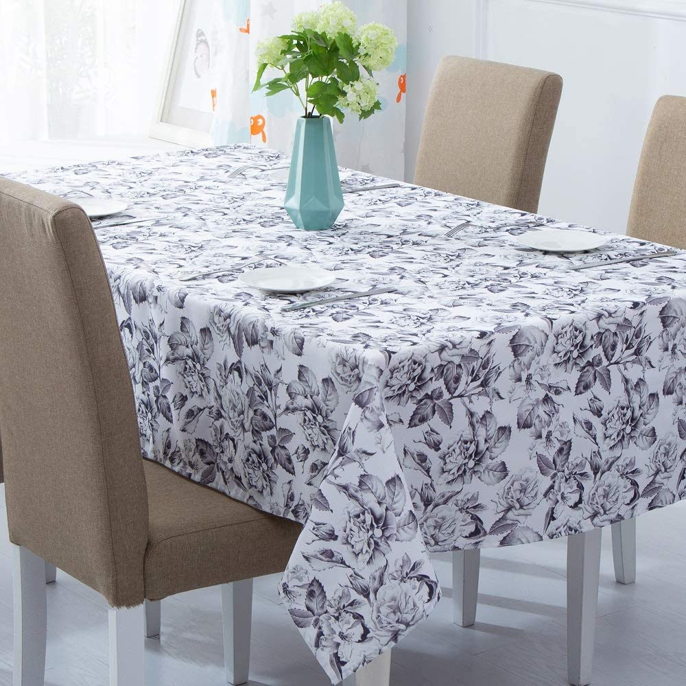 YOSTEV Floral Tablecloth for Rectangle Table Cloth,Decorative Fabrkc Table Cover for Kitchen Dinning Room Party,52 x 70 inches, Grey and White