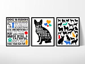 Silly Goose Gifts Dog Room Wall Art Decor (Set of Three) Decoration Print 8x10in Wet Noses Slobber Kisses