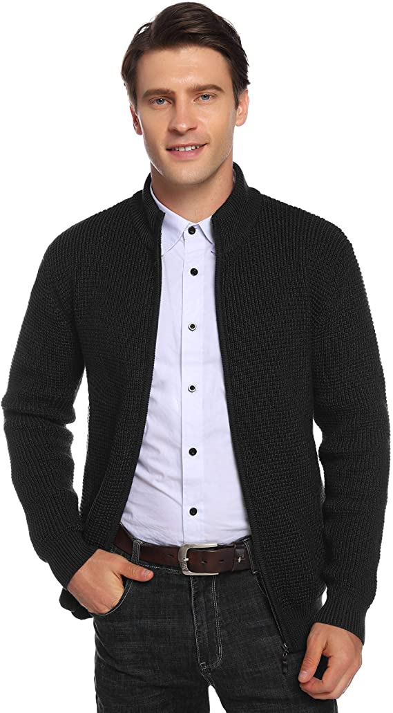 Cappotto Uomo Maglia con Zip per Inverno Cardigan Giacca Uomo Invernale Manica Lunga Aibrou Maglione Cardigan da Uomo con Cerniera