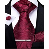 DiBanGu Paisley Necktie Silk Tie Pocket Square Set for Men Formal Handkerchief and Cufflink Wedding Prom