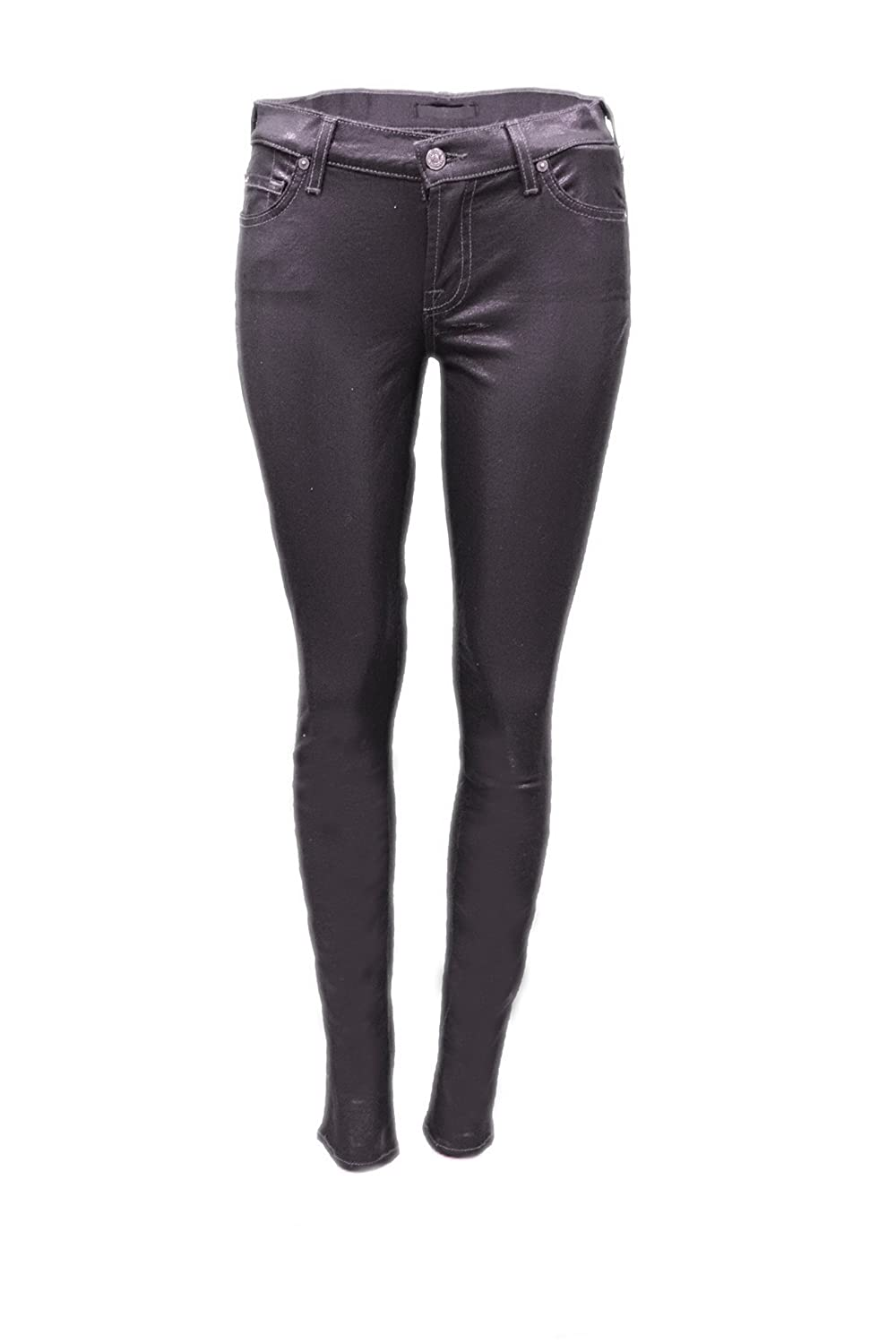 7 FOR ALL MANKIND Skinny Womens High Sheen Iridescent Jeans Deep Purple 160680TAG