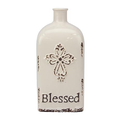 """Amazon.com: Stonebriar Decorative 8"""" Antique White Ceramic Vase with ..."""