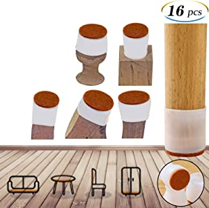 Upgrad Chair Leg caps, 16 pcs Chair Leg Protectors for Hardwood Floors, Reusable Furniture Pads for Hardwood Floors,Chair Leg Floor Protectors That can Prevent Scratches on The Floor and Reduce Noise