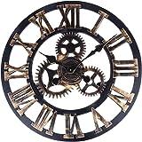 Soledì 3D Orologio Ingranaggio da Parete In Legno Europeo Retro Fatto a Mano ( Colore Rame)