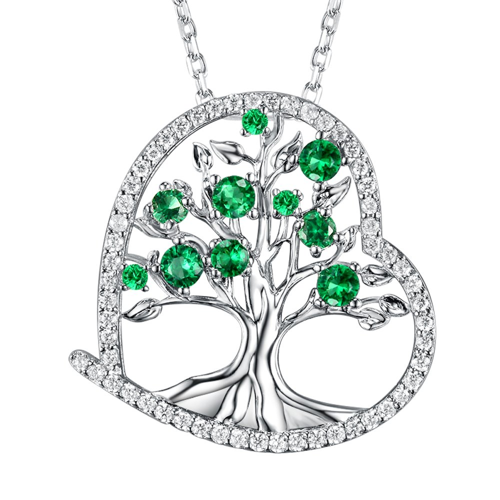 Tree of Life Necklace Jewelry Birthday Gifts for Women LC Green Emerald Sterling Silver Jewelry Love Heart Anniversary Necklace Gifts for Her for Mom Wife Girlfriend Daughter Grandma 20'' Chain