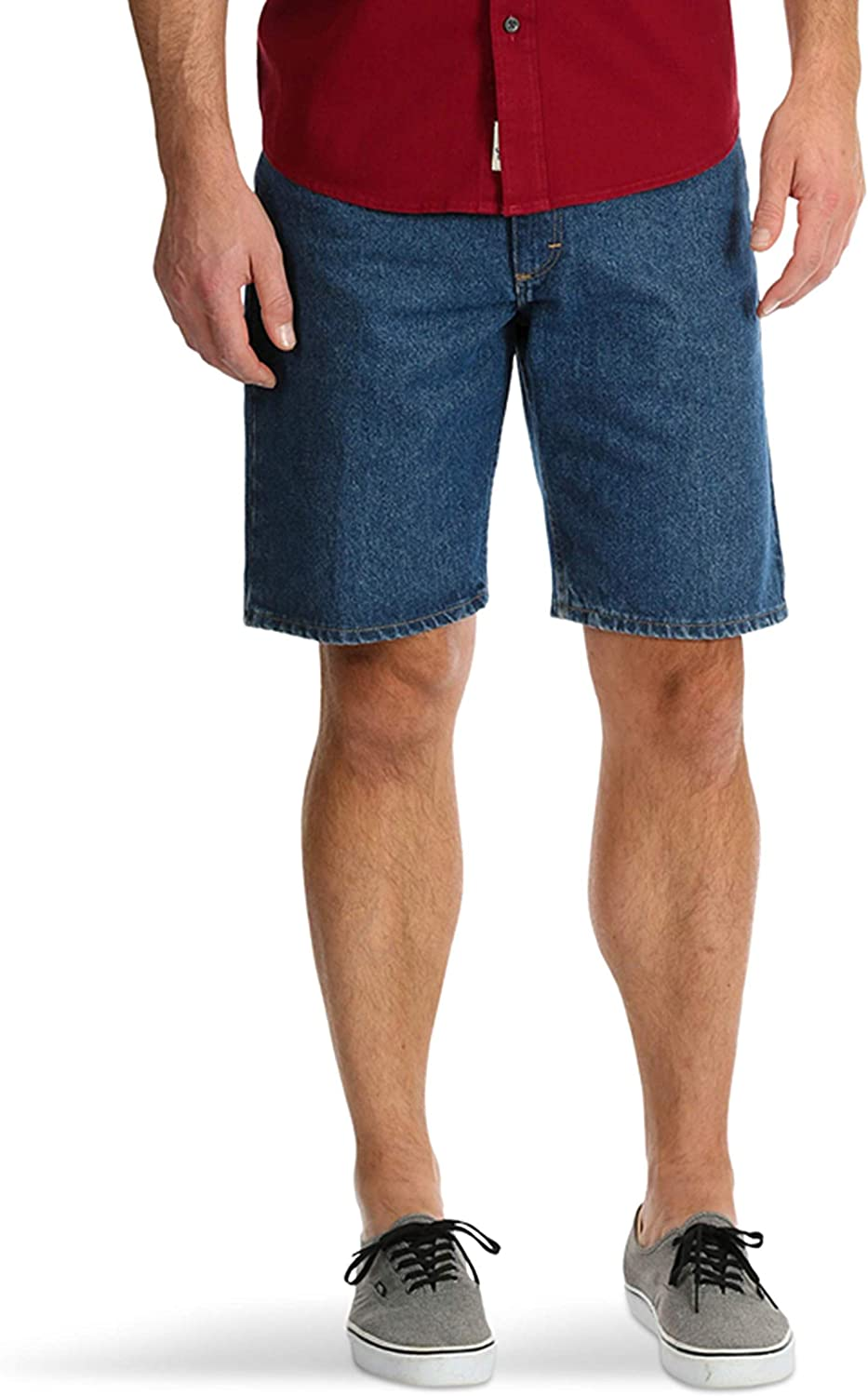 Wrangler Medium Stone Relaxed Fit at Knee 5 Pocket Denim Shorts
