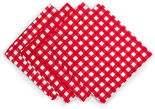 Set of 4 Red and White Check Gingham Fabric Napkins