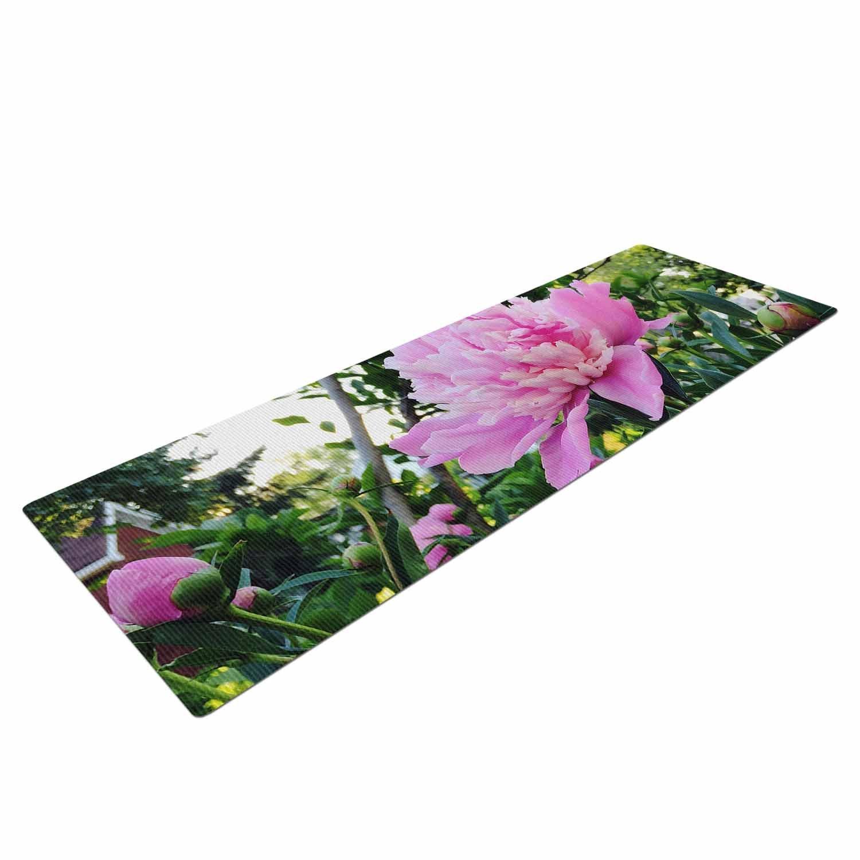 CV1052AYM01 KESS InHouse Chelsea Victoria Pink Peonies Green Floral Yoga Mat 72 X 24 72 X 24 KESS Global Inc