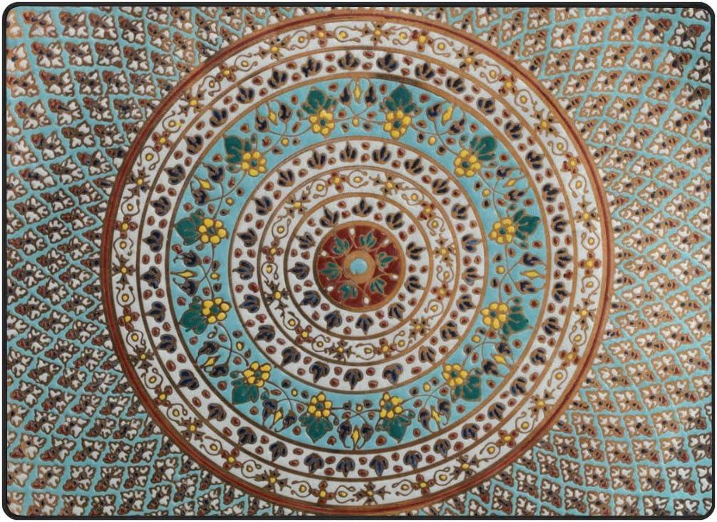 comedor Alfombra antideslizante para sal/ón 50 x 80 cm Multicolor 120 x 160 cm dise/ño de mandala floral cocina dormitorio Naanle 1.7 x 2.6