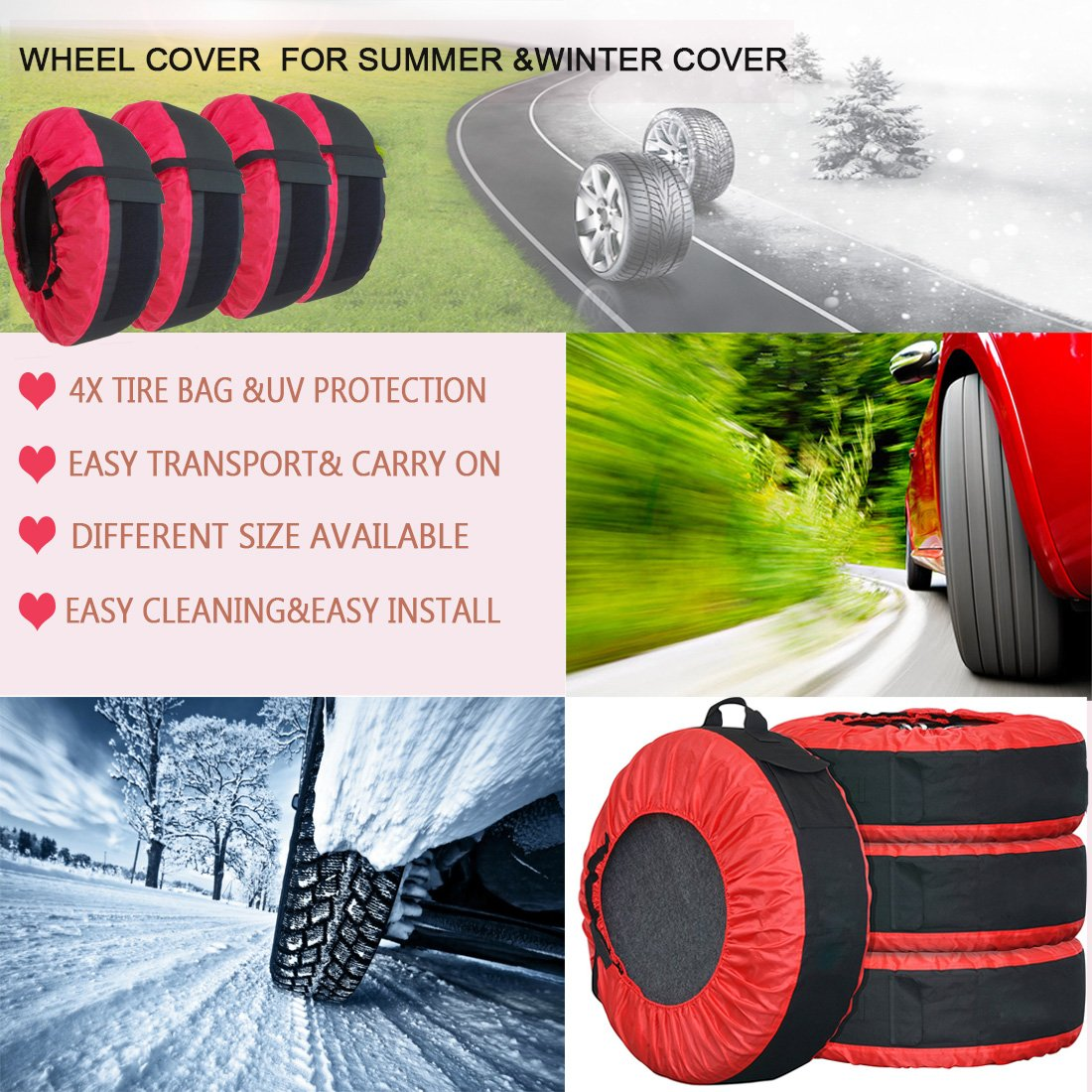 Tire Tote FLR Adjustable Waterproof 30in Tire Covers Protection Covers Seasonal Tire Storage Bag for Car Off Road Truck Tire Totes Set of 4