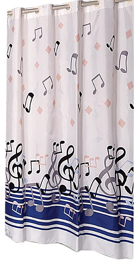 Blue Note EZ On Hookless Fabric Extra Wide Shower Curtain With Built In Hooks