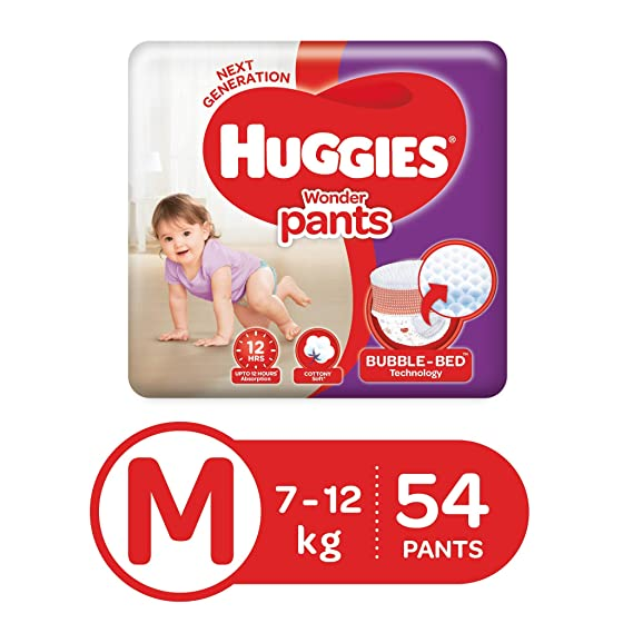 Huggies Wonder Pants Diapers, Medium (Pack of 54)