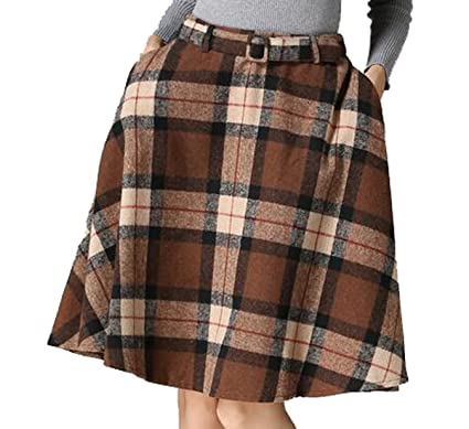 83086855a SYTX Womens Vintage Casual Plaid Big Hem Wool Blend A-Line Midi Skirts With  Belt