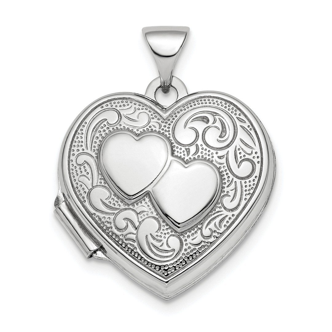 ICE CARATS 925 Sterling Silver Rhod Plated 2 Heart Design Front Back 18mm Photo Pendant Charm Locket Chain Necklace That Holds Pictures Fine Jewelry Ideal Gifts For Women Gift Set From Heart