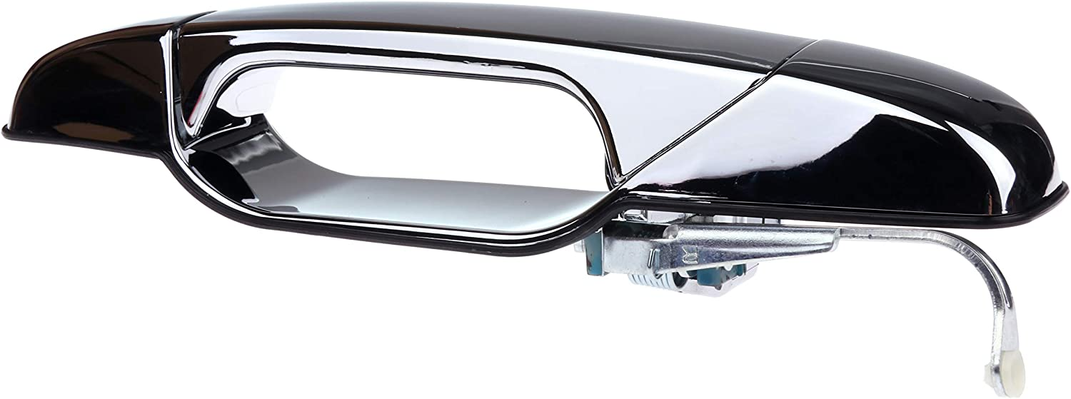 LUJUNTEC Exterior Door Handle Rear Passenger Side Replacement for 2007-2013 Chevy GMC Cadillac Chrome