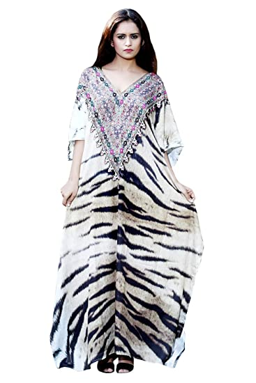 c812dc8e3e Silk kaftan Animal Print Full Length Jeweled Kaftan Dress for Woman ...