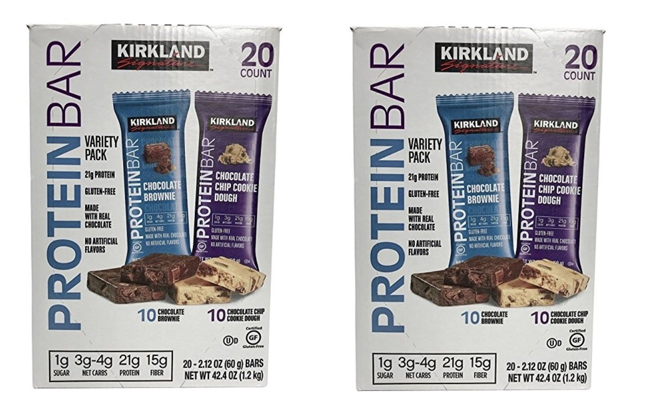 Protein Bar Kirkland Signature delicious energy variety (total 20 pack: 10 Chocolate Chip Cookie Dough, 10 Chocolate Brownie) Gluten Free, Real Chocolate, 15g of Fiber 2.12 oz (40 Count) by Kirkland Signature