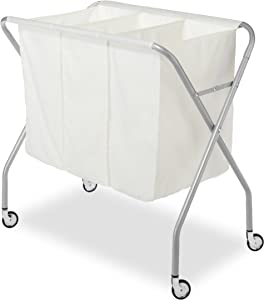 Whitmor 3 Section Laundry Sorter - Collapsible with Heavy Duty Wheels