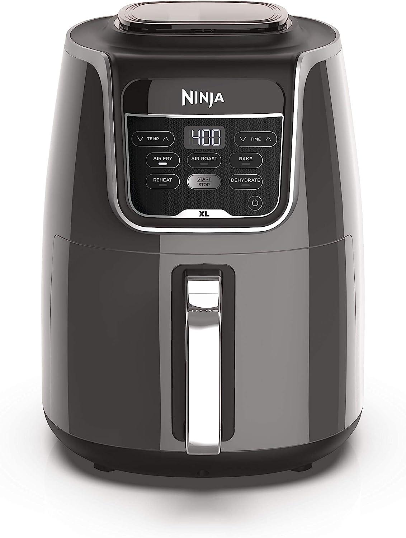 Ninja AF150AMZ Air Fryer XL that Air Fry's, Air Roast's , Bakes, Reheats, Dehydrates with 5.5 Quart Capacity, and a high gloss finish, grey (Renewed)