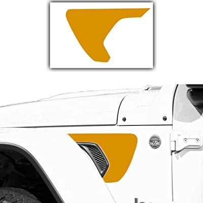 Bogar Tech Designs - Precut Side Fender Vent Solid Vinyl Decal Compatible with Jeep Wrangler JL 2020, Matte Yellow: Automotive