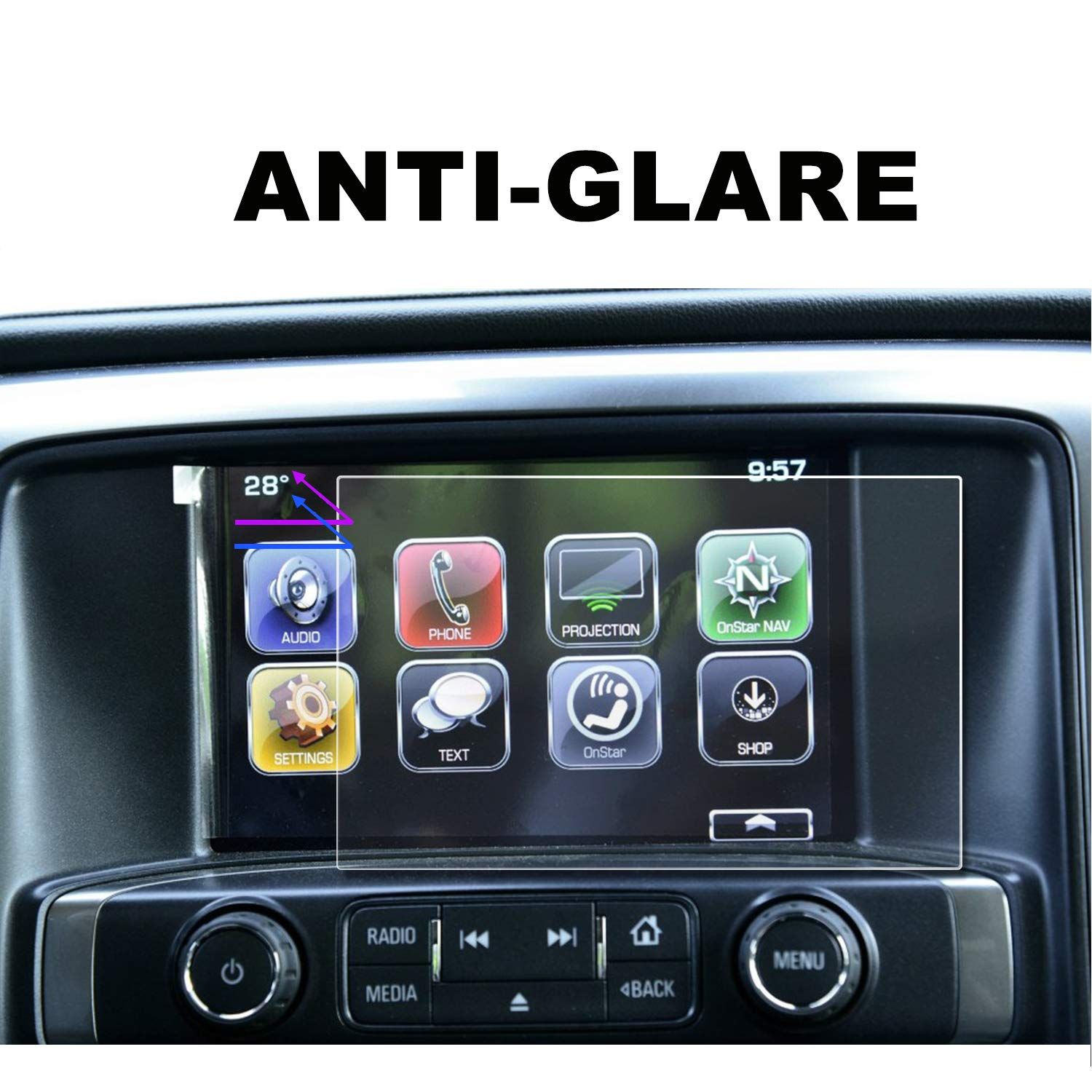 9H Tempered Glass Infotainment Center Touch Display Screen Protector Anti Scratch High Clarity LFOTPP Chevrolet SILVERADO 1500 8 Inch MyLink 2014-2018 Car Navigation Screen Protector,