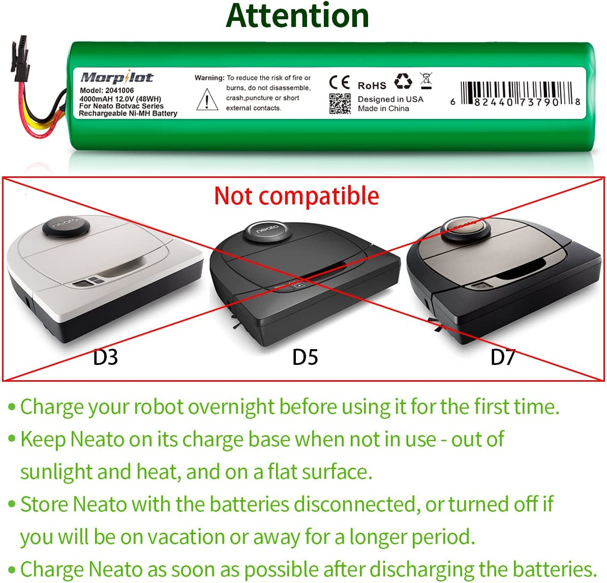 Morpilot 12V 4000mAh NiMh Battery for Neato Botvac Series 70e, 75, 80, 85 Robotic Vacuum 945-0129 945-0174 (Not compatible with Neato D3 D5 D7): Home & Kitchen