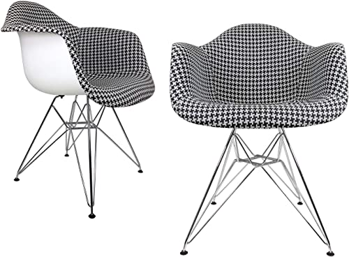 Mid-Century Modern Woven Fabric Upholstered Accent Arm Chair Set of 2 Houndstooth