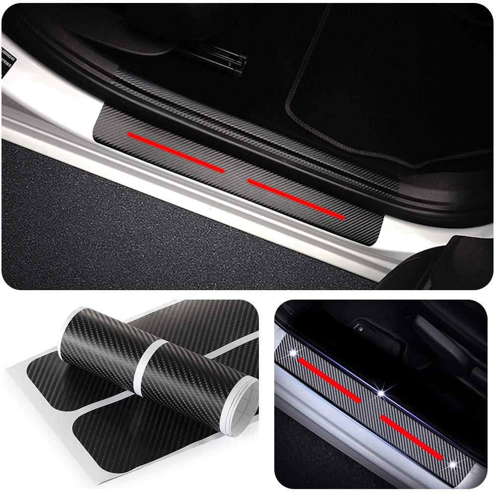 Per Smart Battitacco Soglia Porta Auto,Carbon Fiber Sticker adesivi Styling,Esterno Batticalcagno Prevenire lusura Previene graffi 4Pezzi Blu