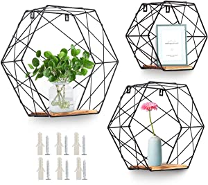 AGSIVO Wall Mounted Hexagonal Floating Shelves Farmhouse Storage Shelves for Wall,Bedroom, Living Room, Bathroom, Kitchen and Office Screws Anchors Included Set of 3 (Black)