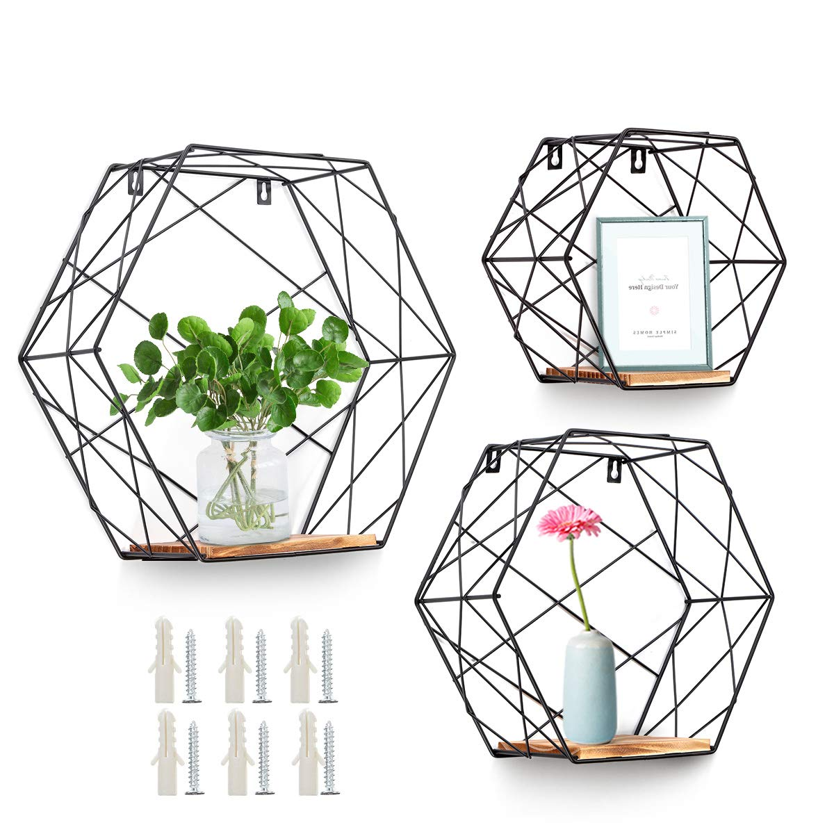 AGSIVO Wall Mounted Hexagonal Floating Shelves Farmhouse Storage Shelves for Wall,Bedroom, Living Room, Bathroom, Kitchen and Office Screws Anchors Included Set of 3,Black